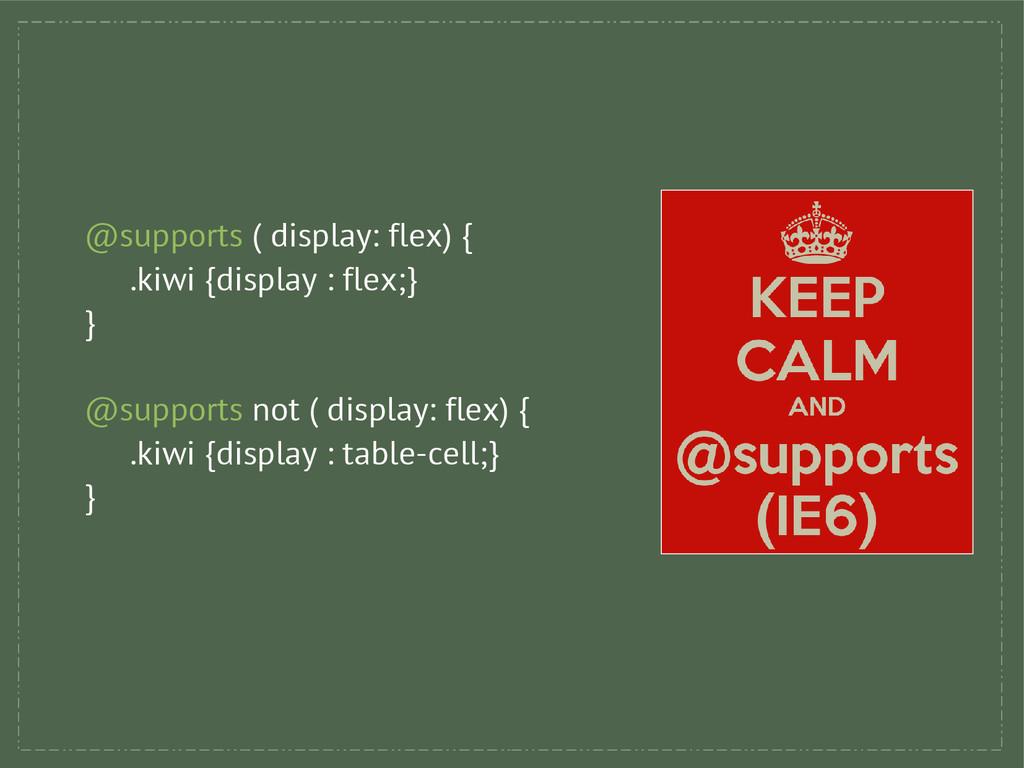 @supports ( display: flex) { .kiwi {display : f...