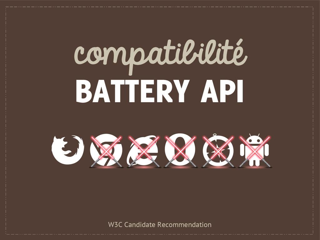 compatibilité BATTERY API W3C Candidate Recomme...