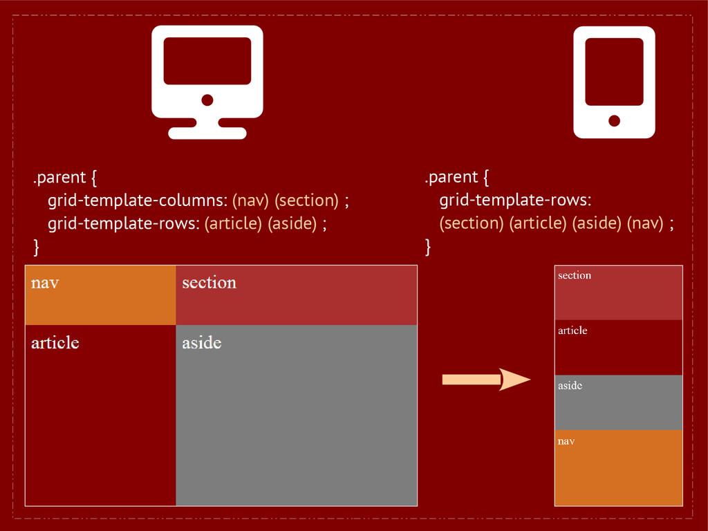 .parent { grid-template-columns: (nav) (section...