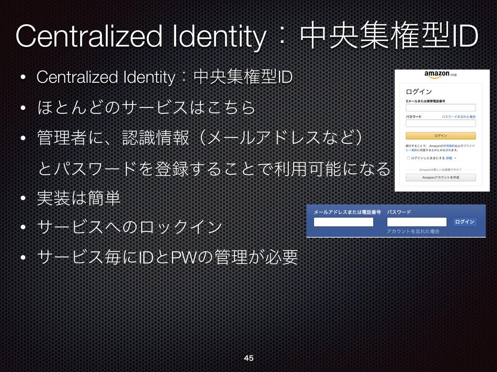 Centralized IdentityɿதԝूݖܕID • Centralized Iden...