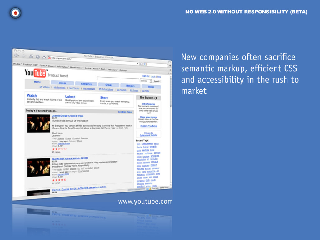 NO WEB 2.0 WITHOUT RESPONSIBILITY (BETA) New co...
