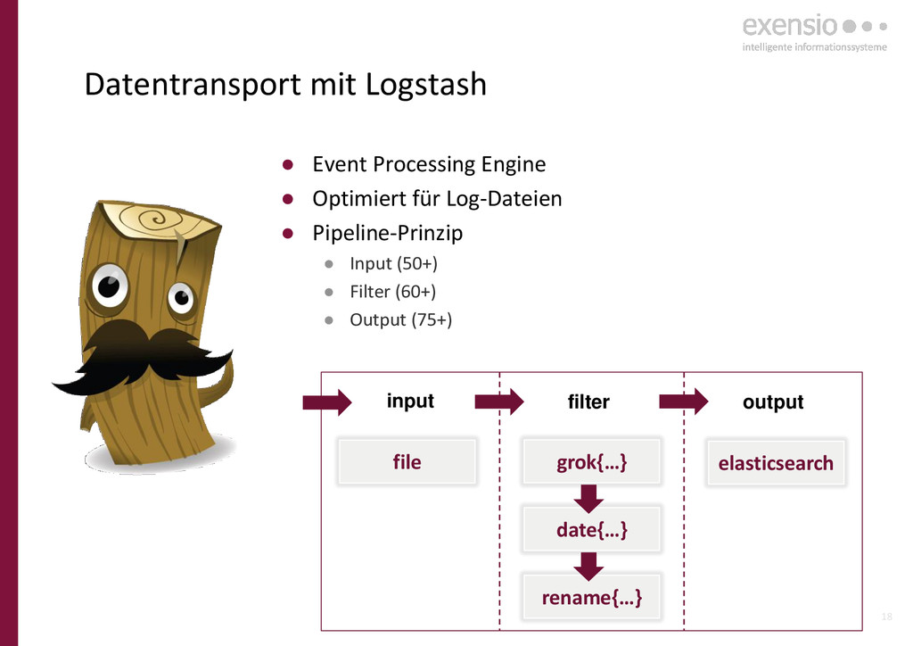 18 Datentransport mit Logstash ● Event Processi...