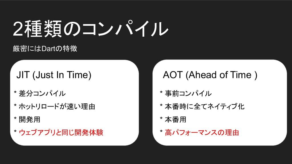 2種類のコンパイル JIT (Just In Time) AOT (Ahead of Time...