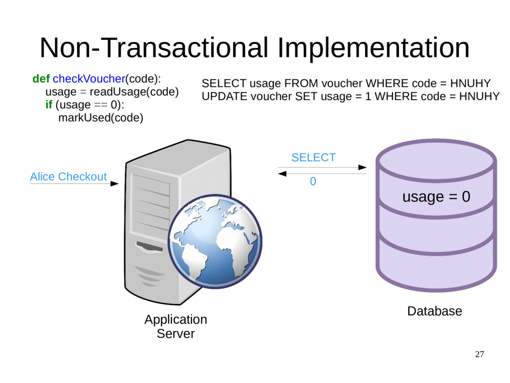 27 Non-Transactional Implementation def checkVo...