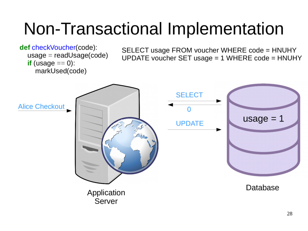 28 Non-Transactional Implementation def checkVo...