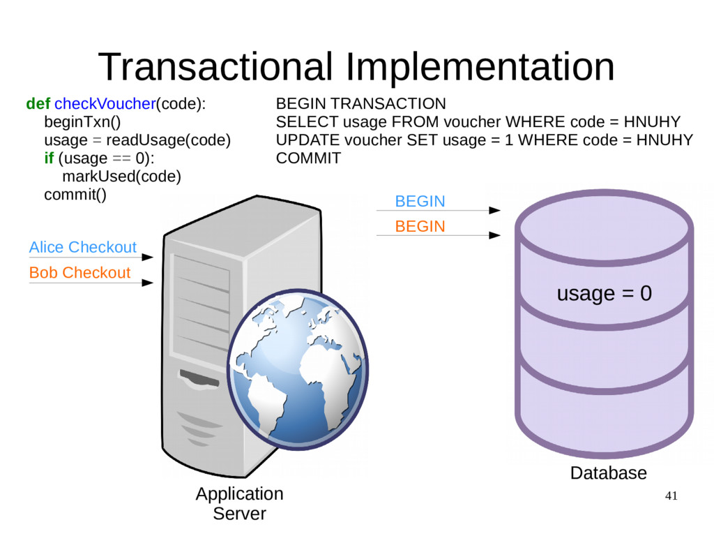 41 Transactional Implementation def checkVouche...