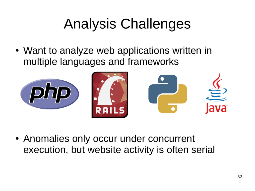 52 Analysis Challenges ● Want to analyze web ap...