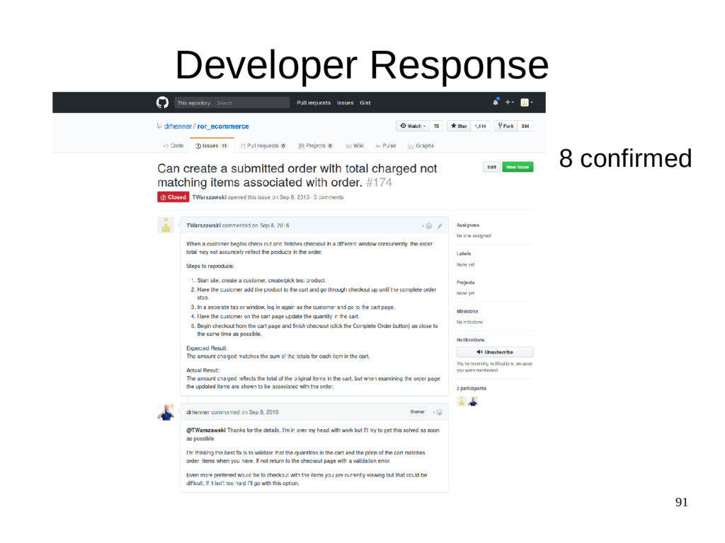 91 Developer Response 8 confirmed