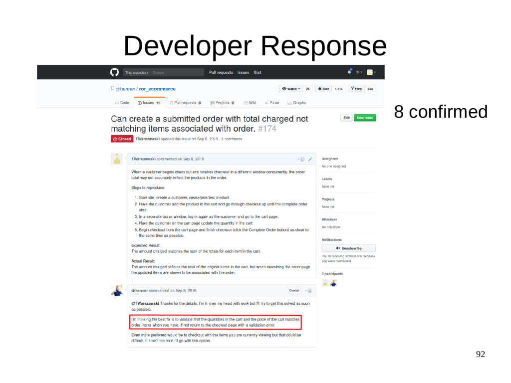 92 Developer Response 8 confirmed