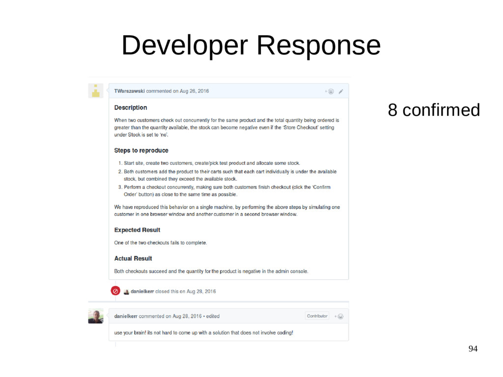 94 Developer Response 8 confirmed