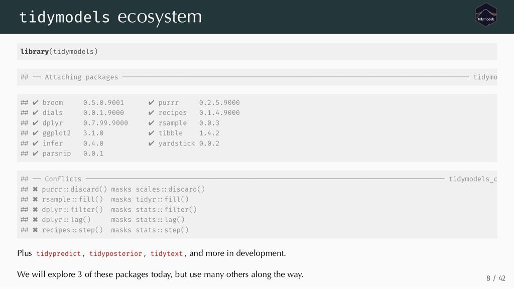 tidymodels ecosystem library(tidymodels) ✔ broo...