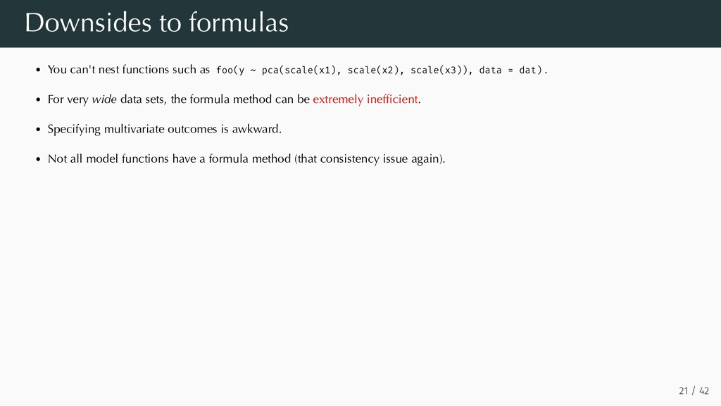 Downsides to formulas You can't nest functions ...