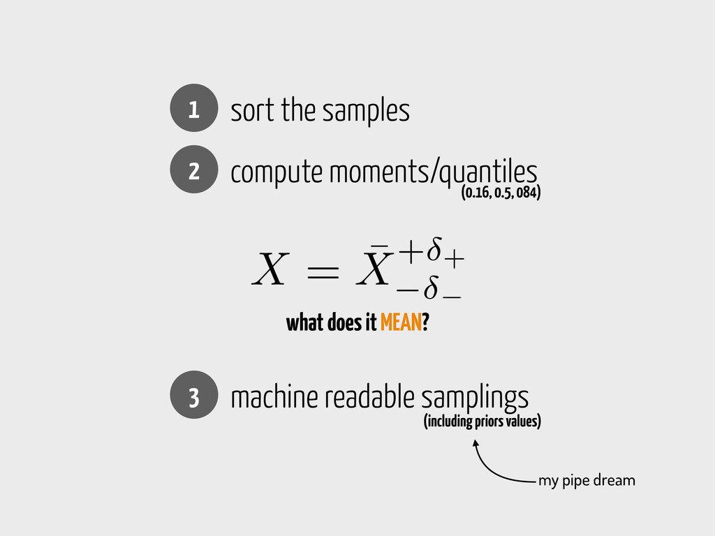 1 sort the samples 2 compute moments/quantiles ...