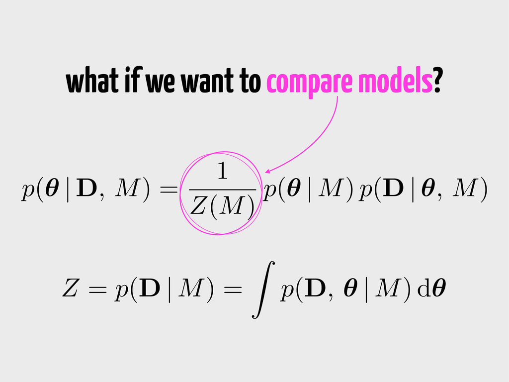 what if we want to compare models? p(✓ | D, M) ...