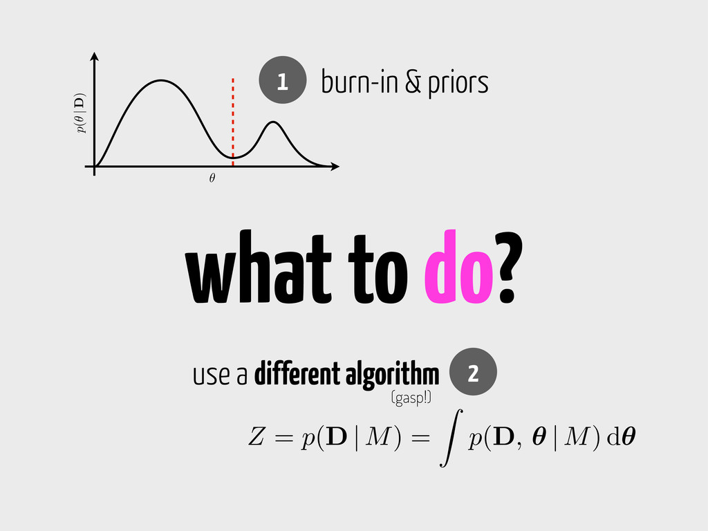 what to do? ✓ p(✓ | D) 1 burn-in & priors Z = p...