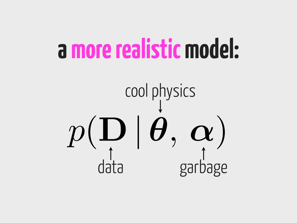 a more realistic model: p(D | ✓, ↵) data cool p...