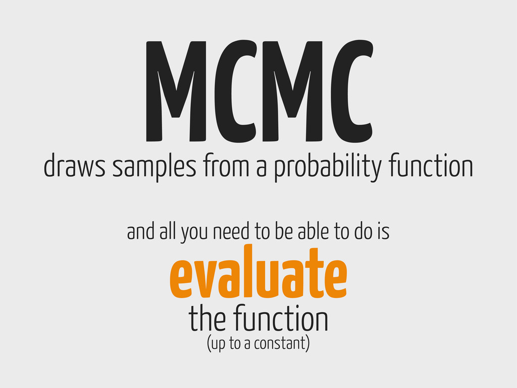 MCMC draws samples from a probability function ...