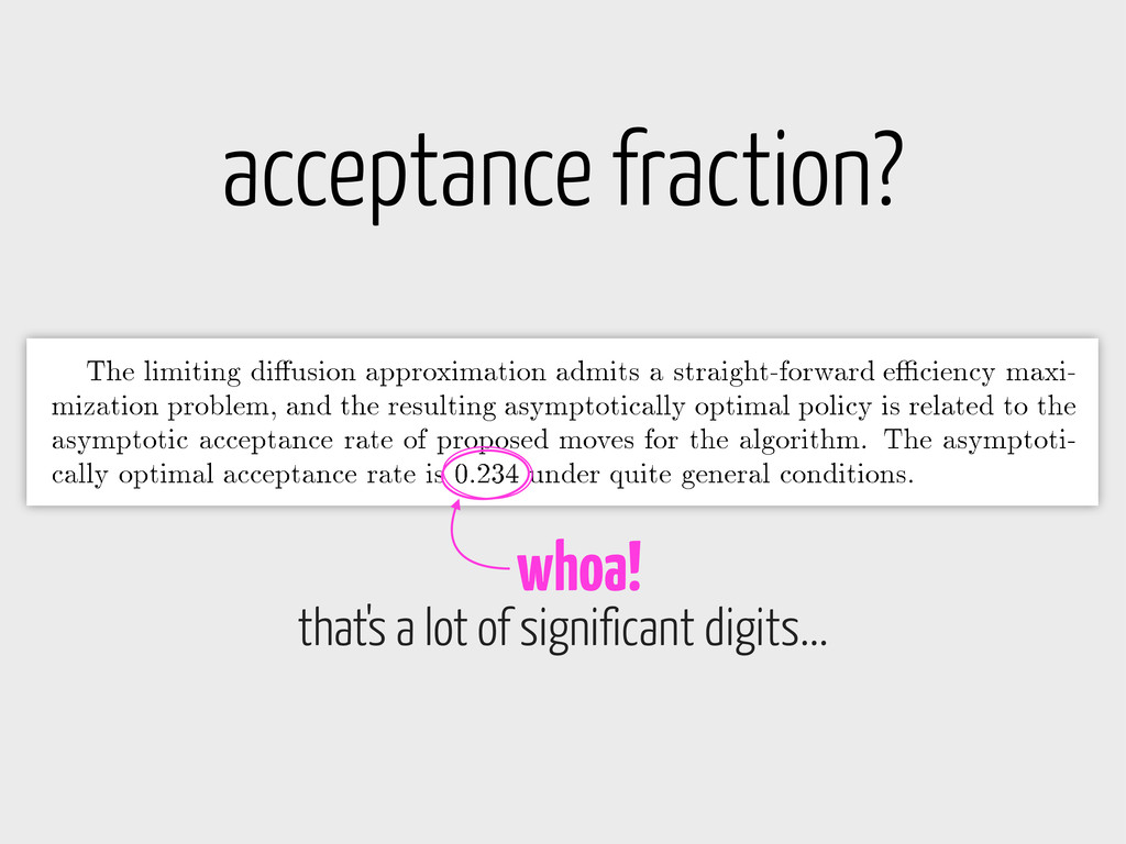 acceptance fraction? whoa! that's a lot of sign...