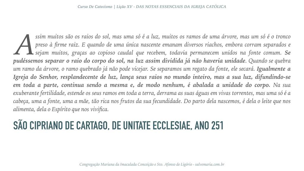 SÃO CIPRIANO DE CARTAGO, DE UNITATE ECCLESIAE, ...