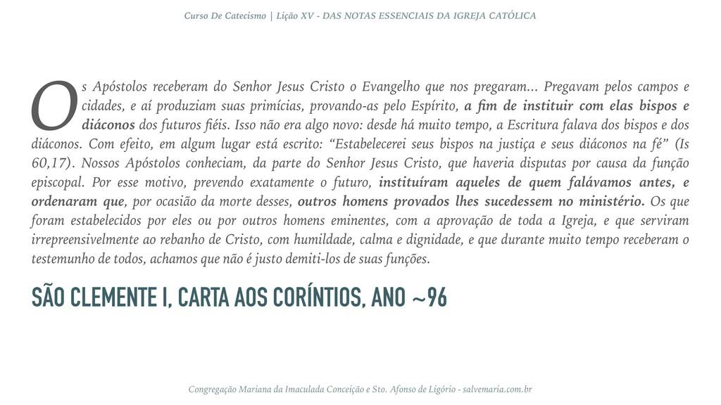 SÃO CLEMENTE I, CARTA AOS CORÍNTIOS, ANO ~96 s ...