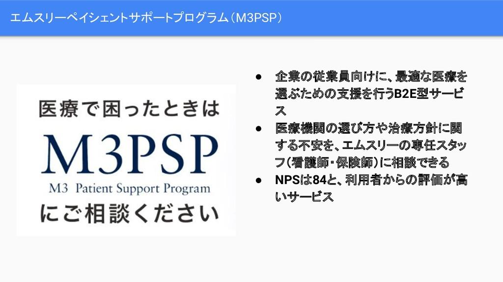 エムスリーペイシェントサポートプログラム(M3PSP) ● 企業の従業員向けに、最適な医療を ...