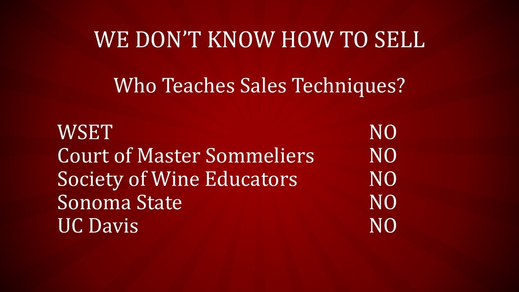 WE DON'T KNOW HOW TO SELL Who Teaches Sales Tec...