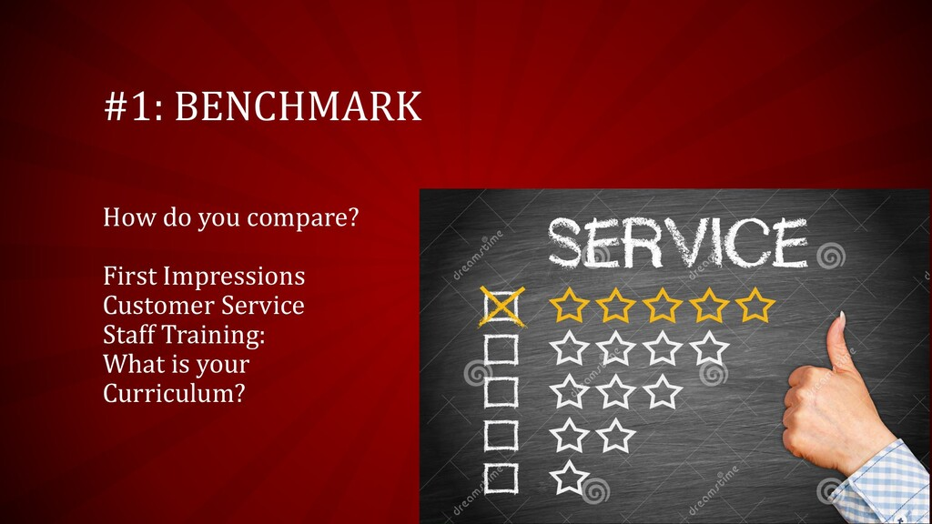 #1: BENCHMARK How do you compare? First Impress...