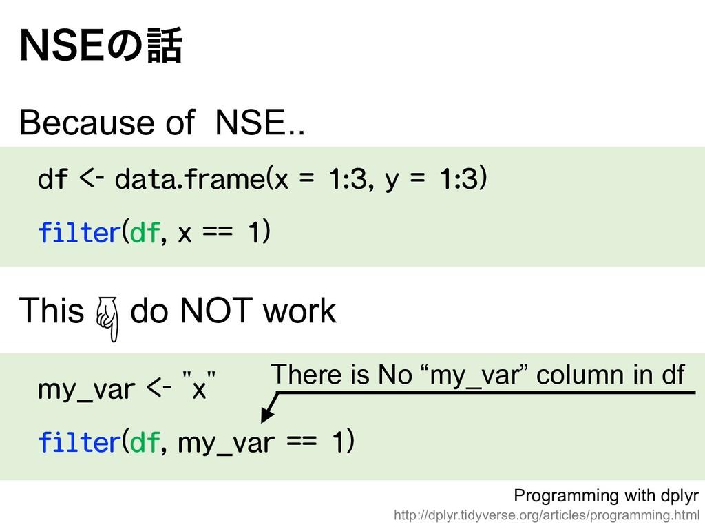df <- data.frame(x = 1:3, y = 1:3) filter(df, x...