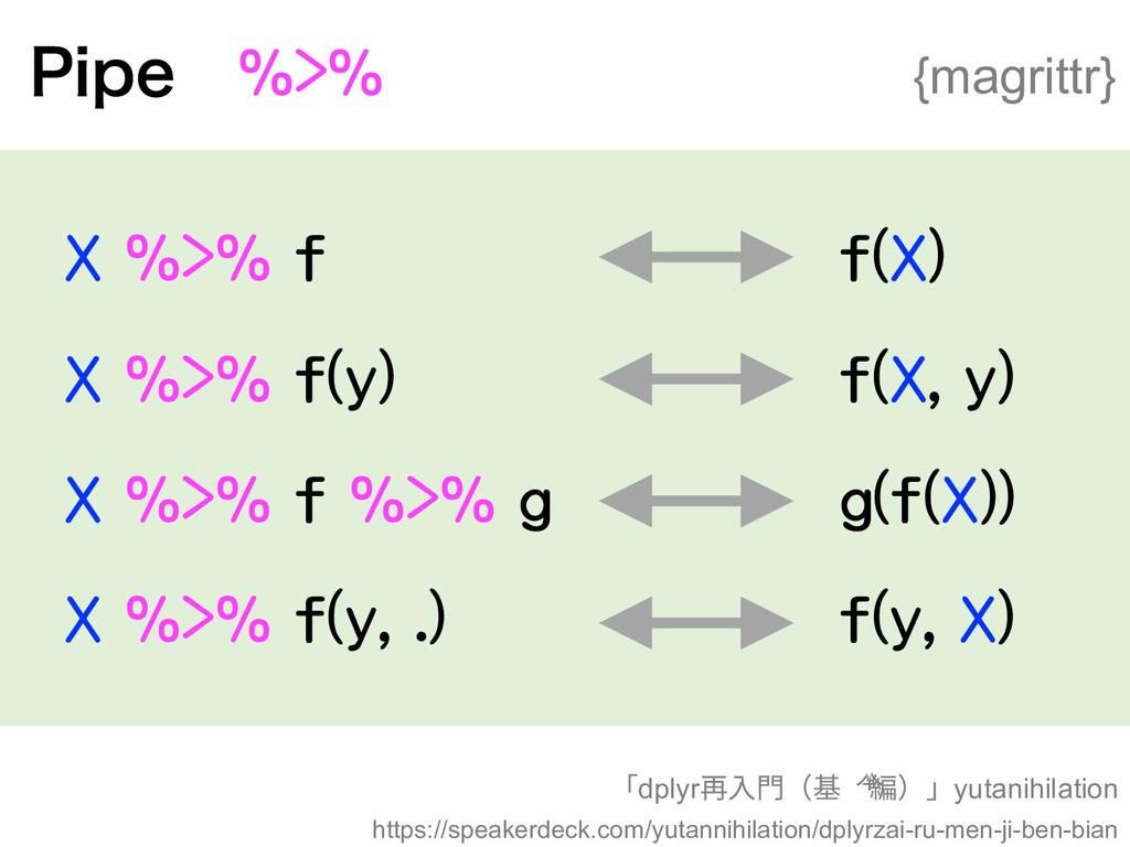 1JQF X %>% f X %>% f(y) X %>% f %>% g X %>% f(y...
