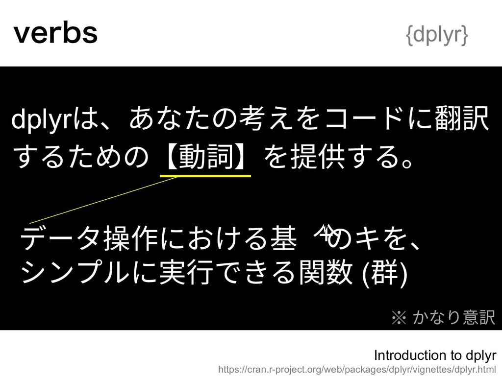 dplyrは、あなたの考えをコードに翻訳 するための【動詞】を提供する。 データ操作における基...