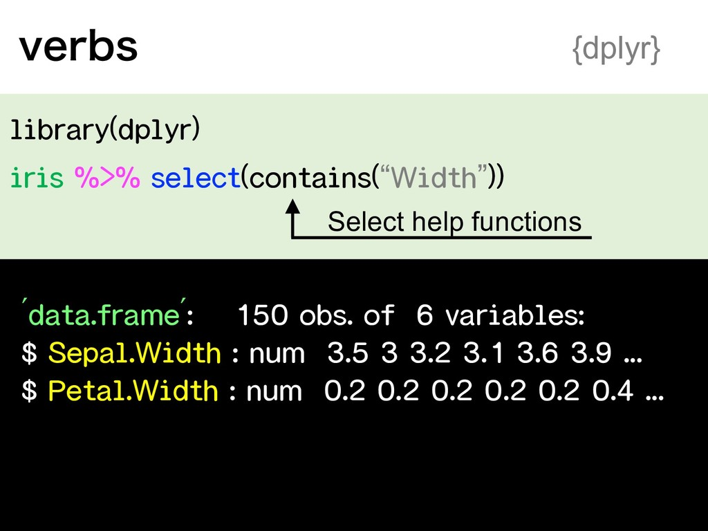 """library(dplyr) iris %>% select(contains(""""Width""""..."""