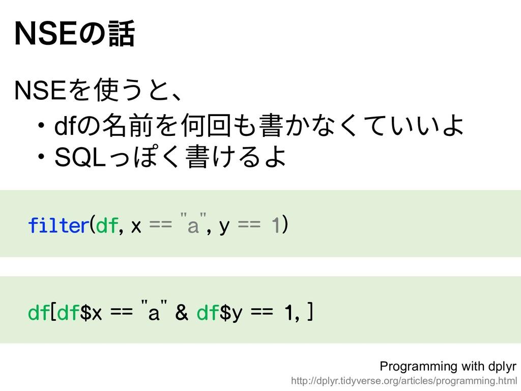 "filter(df, x == ""a"", y == 1) /4&ͷ NSEを使うと、 ‧df..."