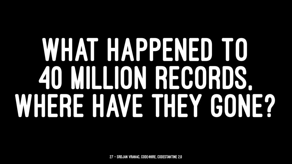 WHAT HAPPENED TO 40 MILLION RECORDS, WHERE HAVE...