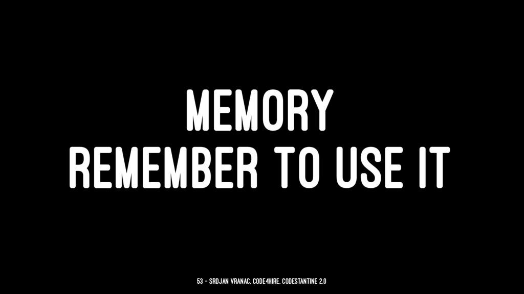MEMORY REMEMBER TO USE IT 53 — Srdjan Vranac, C...