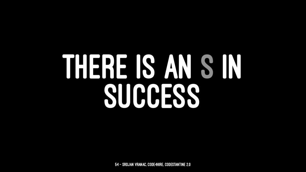 THERE IS AN S IN SUCCESS 54 — Srdjan Vranac, Co...