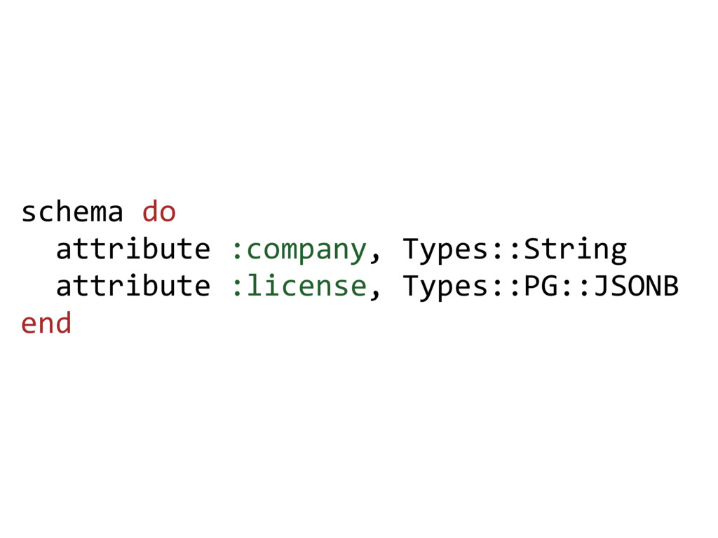 schema do attribute :company, Types::String att...