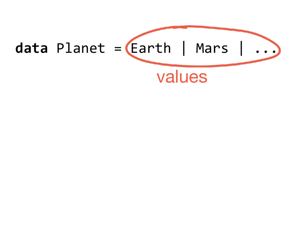 data Planet = Earth | Mars | ... values