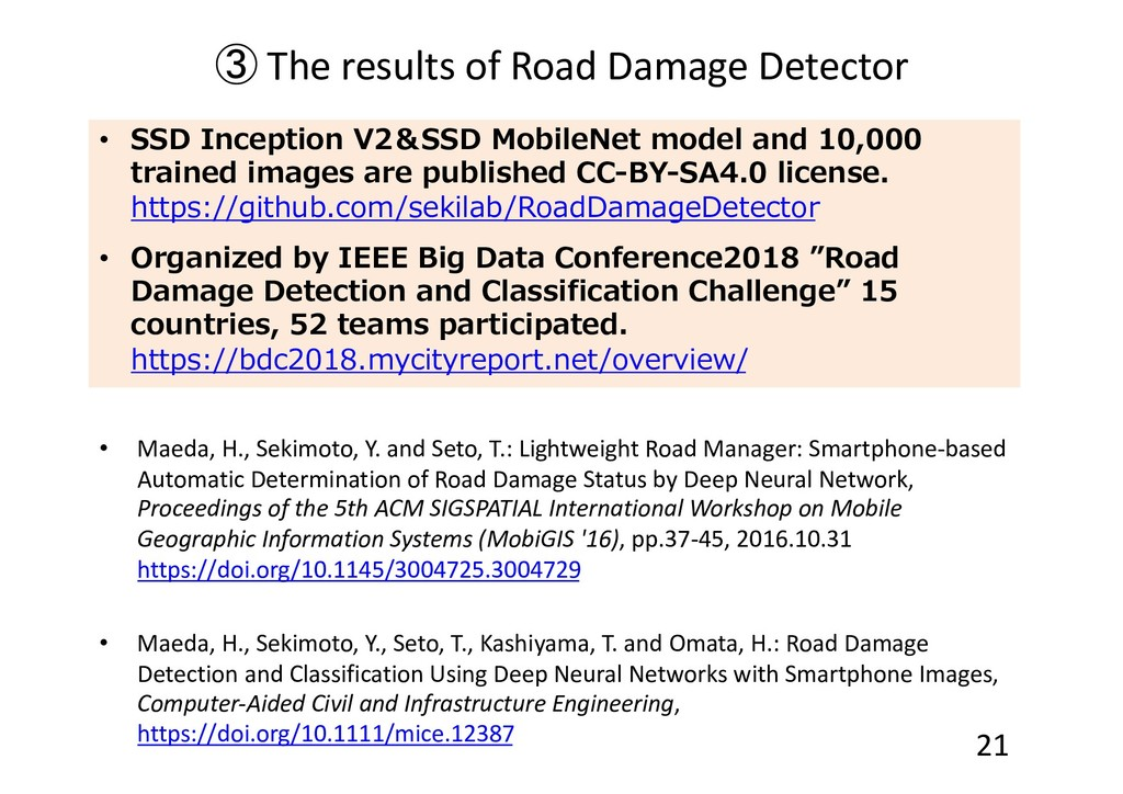 ③ The results of Road Damage Detector • Maeda, ...