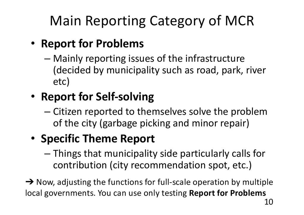 Main Reporting Category of MCR • Report for Pro...
