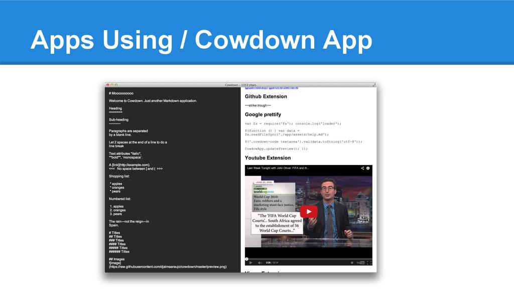 Apps Using / Cowdown App