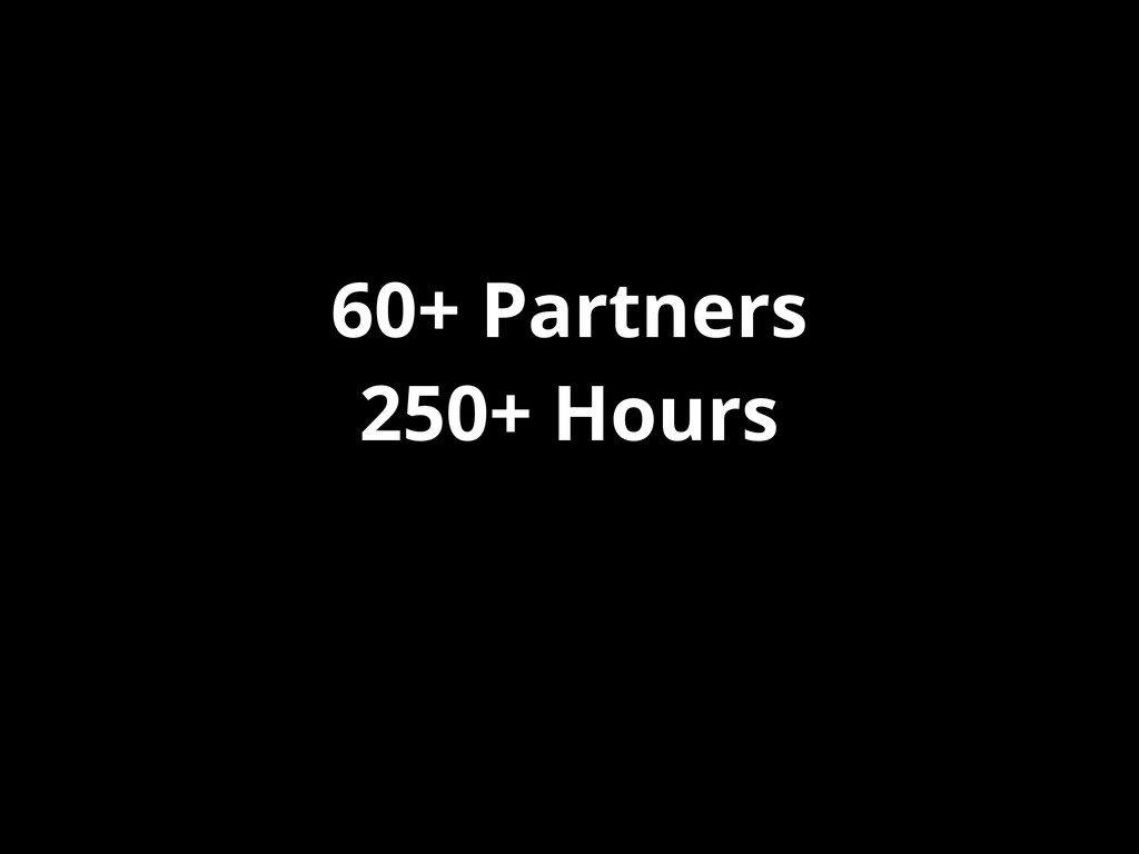 60+ Partners 250+ Hours