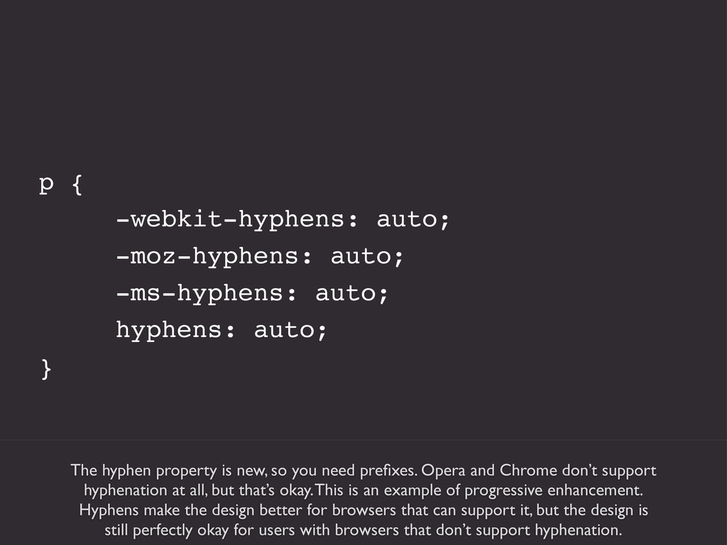 The hyphen property is new, so you need prefixes...