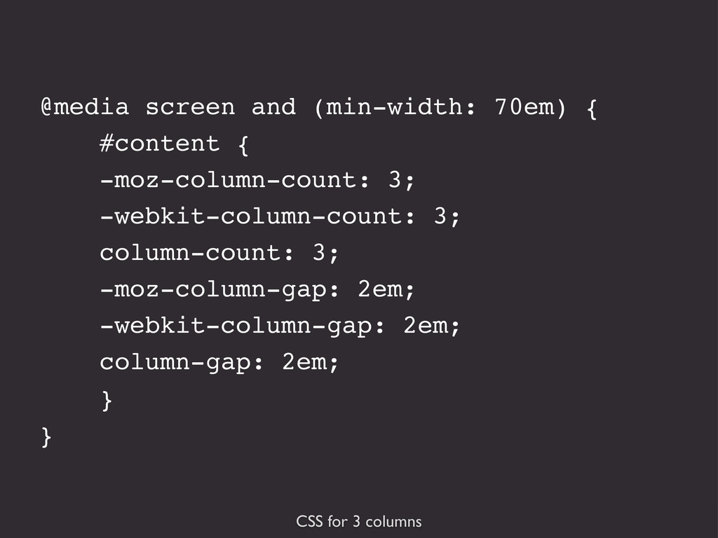 CSS for 3 columns @media screen and (min-width:...