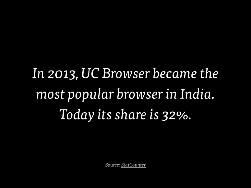 In 2013, UC Browser became the most popular bro...
