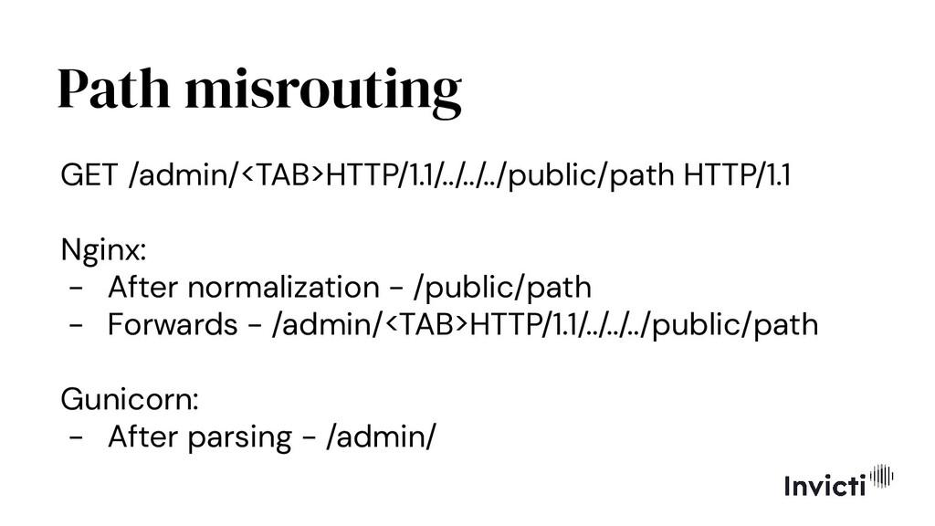 Path misrouting GET /admin/<TAB>HTTP/1.1/../../...