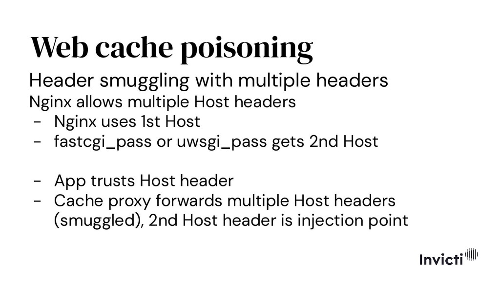 Web cache poisoning Header smuggling with multi...