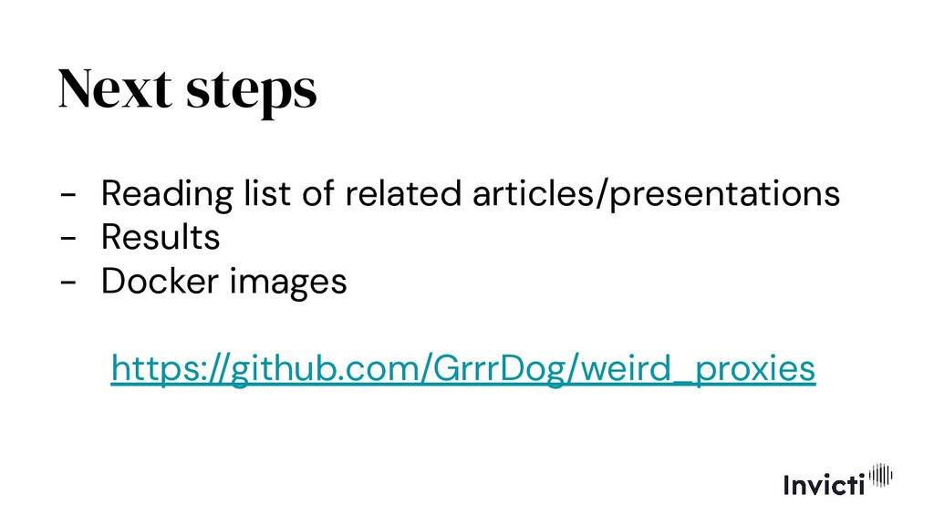 Next steps - Reading list of related articles/p...