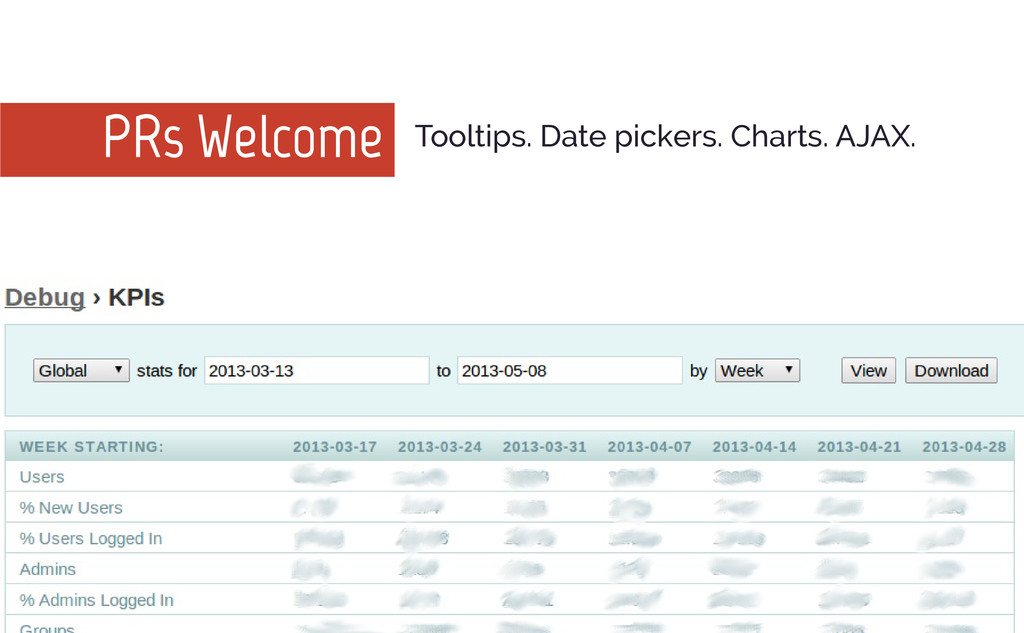 PRs Welcome Tooltips. Date pickers. Charts. AJA...