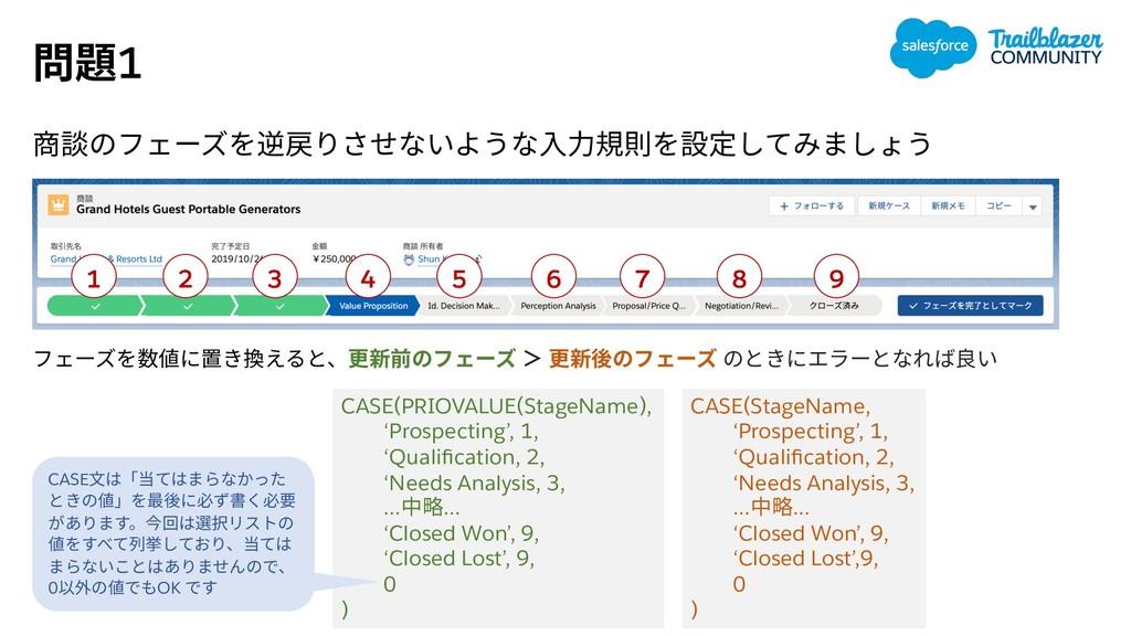 1 CASE(StageName, 'Prospecting', 1, 'Qualificati...