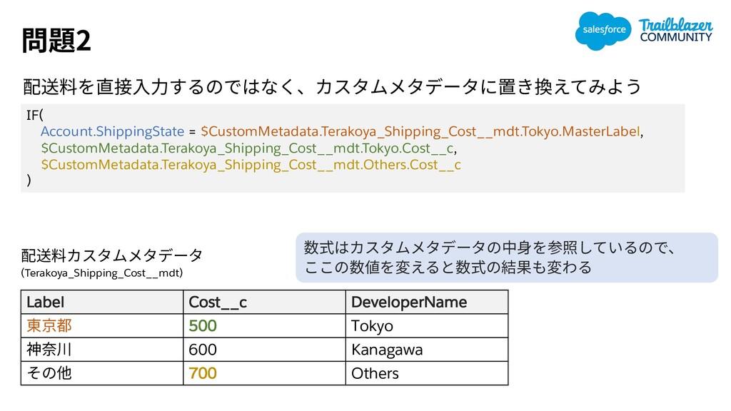 2 Label Cost__c DeveloperName 500 Tokyo 600 Kan...